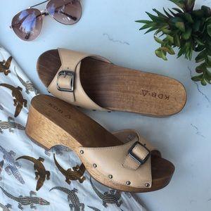 {Anthropologie} KDB Wooden Clog Slide Sandal